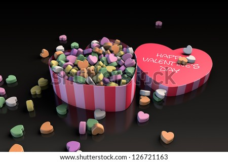 Valentine's day heart shaped candy box (3D render) - stock photo