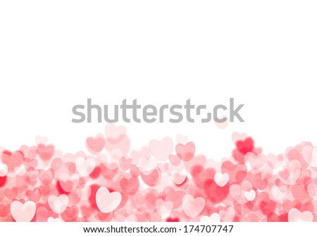 Valentine's day red hearts grunge bokeh background with copy space - stock photo