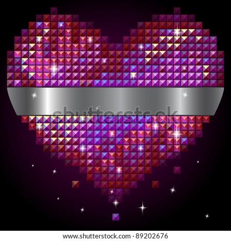 Valentine's day shiny rhinestone heart (see eps version in my portfolio) - stock photo