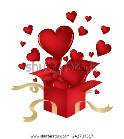 Valentine's Day themed illustration with hearts popping out of a present isolated on white. - stock photo
