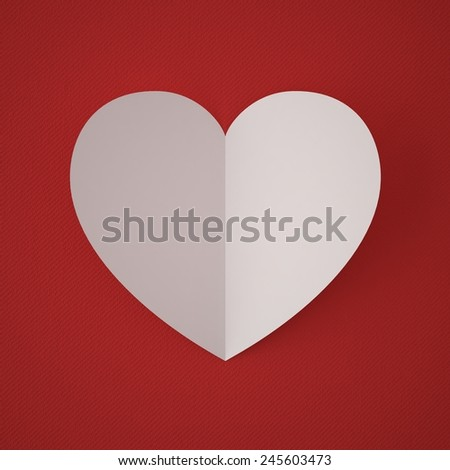 Valentine's Day. White paper heart on a red background fabric. High Resolution 3d - stock photo