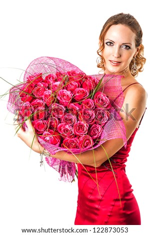 stock photo valentine s day young woman holding large bouquet of pink roses 122873053