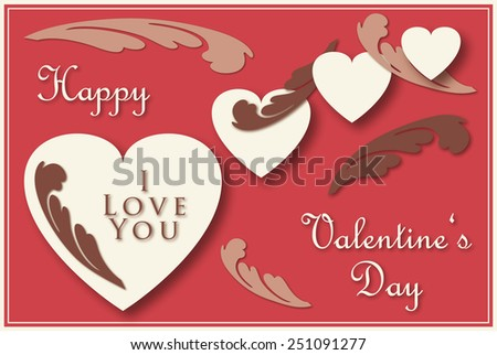 Valentine's greeting card with hearts and ornaments - stock photo
