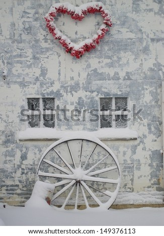 Valentine's Heart on Barn - stock photo