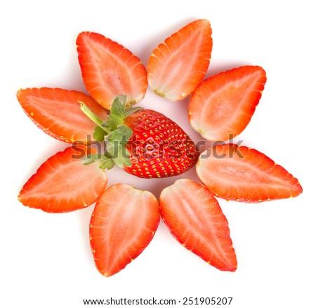 Valentine strawberry and heart - stock photo