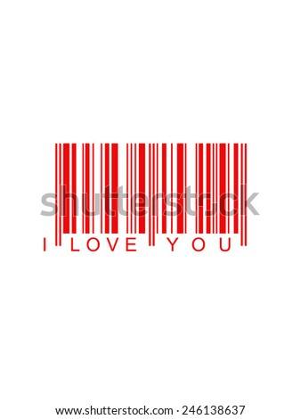 Valentines background code bar in red - stock photo