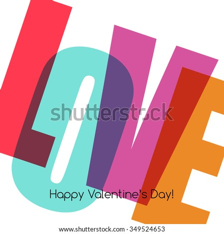Valentines Card with love. Happy Valentine's Day - stock photo