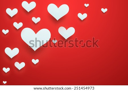 Valentines day. Abstract paper hearts. Love - stock photo