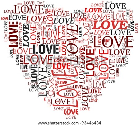 Valentines day and love concept in word tag cloud on white background - stock photo