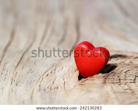 Valentines Day background. Hearts on Wooden Texture. Macro - stock photo