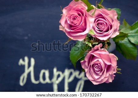 Valentines day background/Pink roses - stock photo