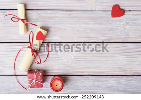 Valentines day background with decoration and copy space - stock photo