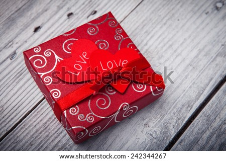 Valentines day background with gift - stock photo