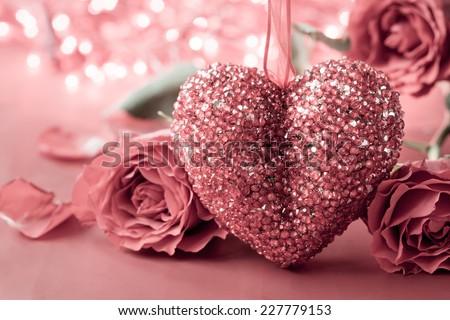 Valentines Day background with heart and roses. Vintage style - stock photo