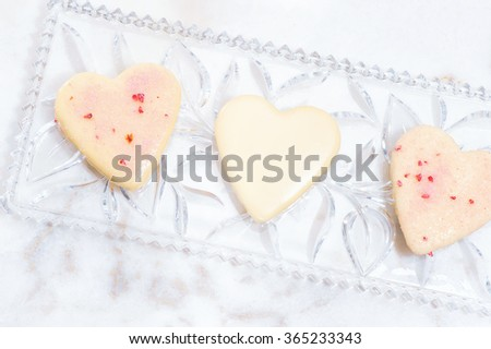 Valentines Day background with heart and roses. Vintage style. Heart shaped cookies for valentine's day Mother day - stock photo