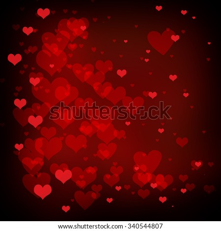 valentines day background with hearts floating on red background - stock photo