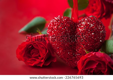 Valentines Day background with red heart and roses - stock photo