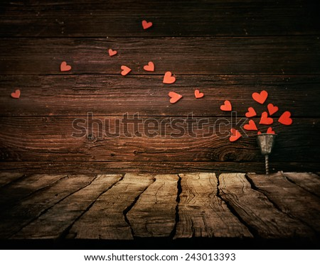 Valentines day background. Wood Tabletop with hearts. Valentines concept - stock photo