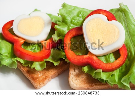valentines day breakfast - stock photo