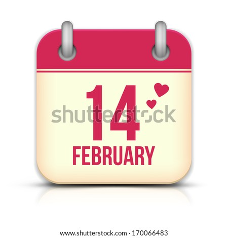 Valentines day calendar icon with reflection. 14 february - stock photo