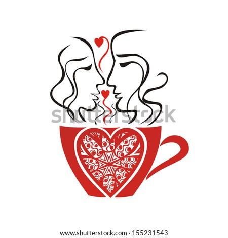 Valentines day card illustration - stock photo