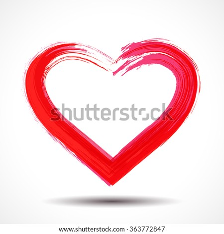 Valentines Day card with brush painted heart - stock photo