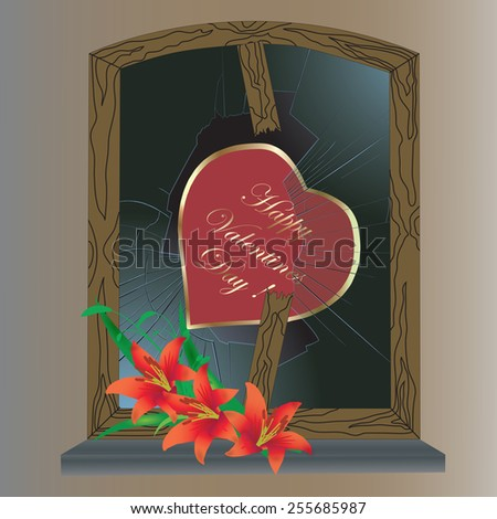 Valentines Day card with heart and broken window - raster - stock photo
