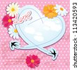 Valentines day card with heart and swallows. Raster version - stock photo