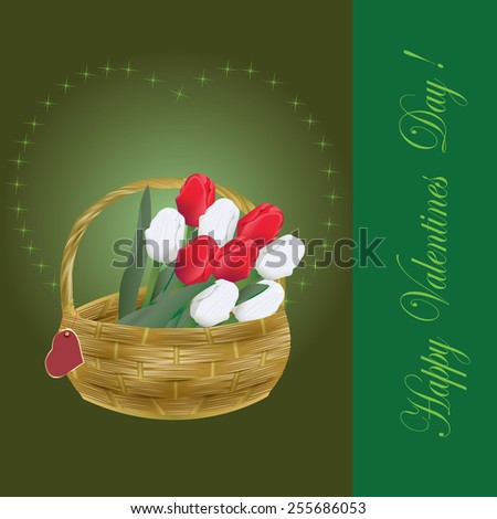 Valentines Day card with tulips in the basket - raster - stock photo
