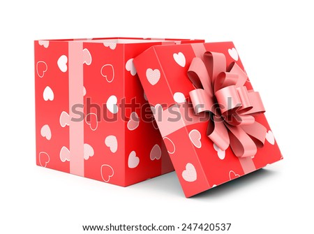 Valentines day celebration, love and relationship concept. Open red giftbox with hearts texture and pink bow isolated on white background. - stock photo
