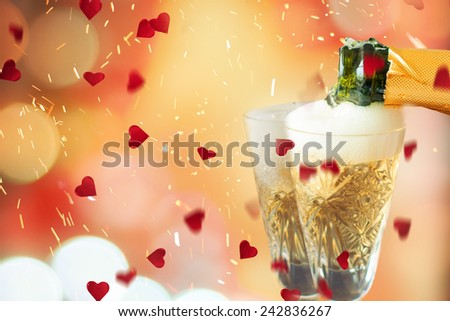 Valentines day celebration with champagne - stock photo
