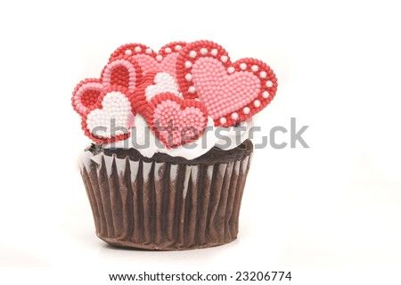 valentines day cupcake isolated on white background - stock photo