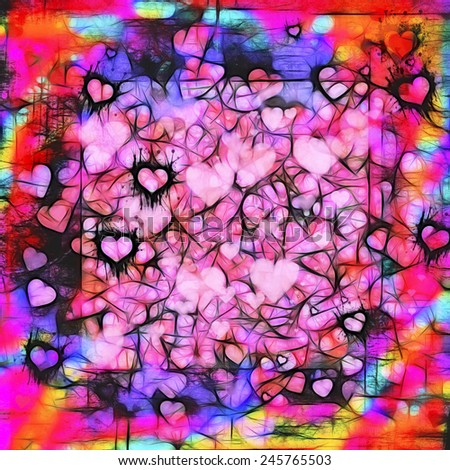 Valentines Day dark moody grunge hearts abstract background in pink, black, red, purple, turquoise, gold and orange. Artistic digital illustration. - stock photo
