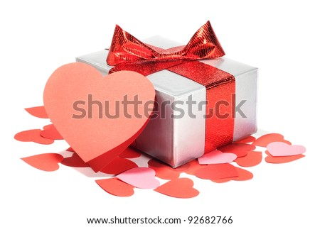 Valentines Day gift in silver box and greeting card isolated on white - stock photo