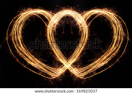 Valentines Day -  Hard Shape sparkler firework  alphabet - stock photo