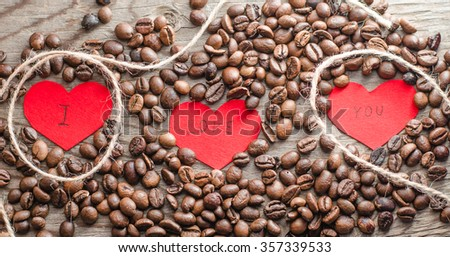 valentines day,heart,love,coffee beans,valentines coffee,horizontal photo - stock photo