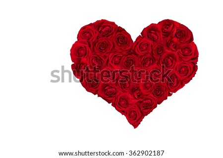 Valentines Day Heart made of Red Roses.  White background. - stock photo