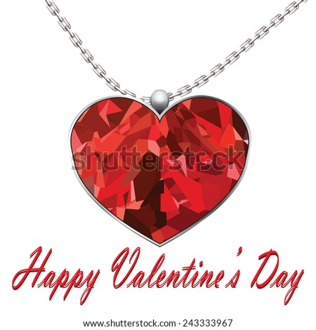 Valentines Day heart pendant on white background text Valentines day. - stock photo