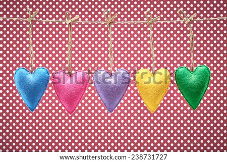 Valentines Day. Hearts Handmade set, hanging on rope. Vintage. Retro Styled. Love concept on dots background - stock photo