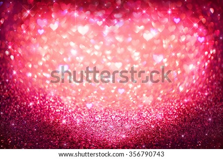 Valentines Day holiday background. Vintage Hearts defocused  - stock photo
