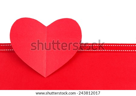 Valentines Day paper heart with ribbon and red bottom border - stock photo