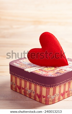 Valentines Day.  Red Heart Handmade and gift box, Vintage. Retro Styled. Love concept on wooden background - stock photo