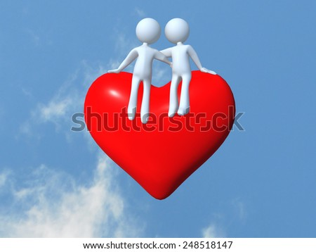 valentines day, red heart, hugs, white little people in love hugging facing a red heart on the sky - stock photo
