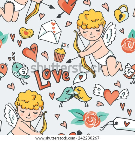 Valentines Day romantic seamless pattern. Cute Cupid, birds, envelopes, hearts and other design elements. - stock photo