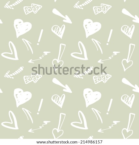 Valentines day seamless pattern with hearts and arrows. Endless print silhouette texture. Hand drawing. Fabric design. Wallpaper - raster version  - stock photo