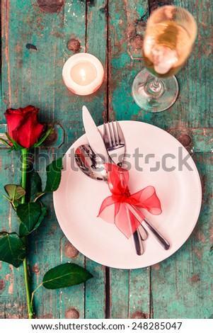 Valentines day table setting - stock photo