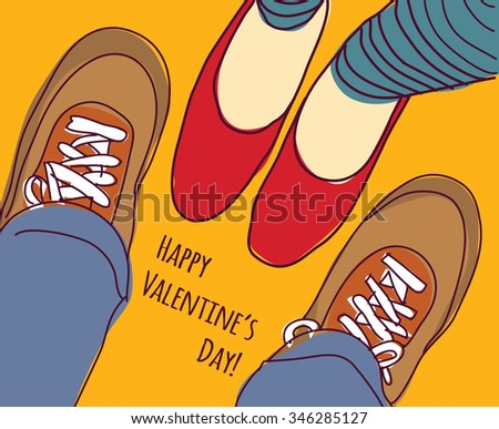 Valentines greeting card young man and woman. Woman and man foots. Color illustration.  - stock photo