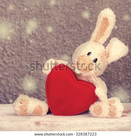 Valentines Heart with toy banny - stock photo