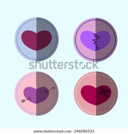 Valentines hearts set. Flat illustration. Raster version, vector file is also in portfolio. - stock photo