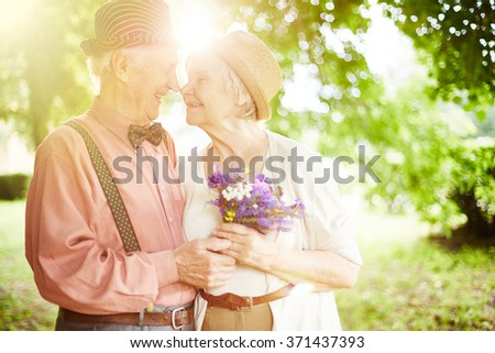 Valentines in park - stock photo